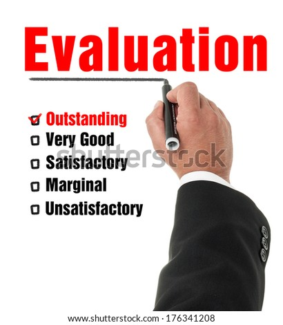 Elegant business man hand feeling the check boxes on a classic checklist with he's marker. Isolated on white background. - stock photo