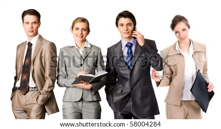 Elegant business people standing in line and looking at camera - stock photo