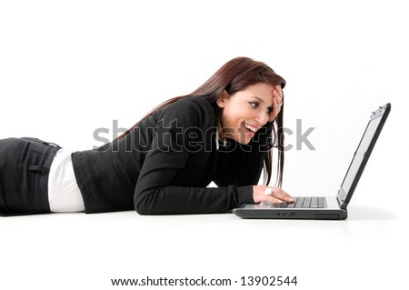 Elegant business woman drawn on the ground with laptop, isolated on a white background - stock photo
