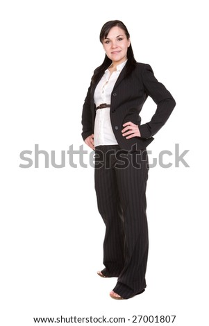 elegant business woman isolated on white background