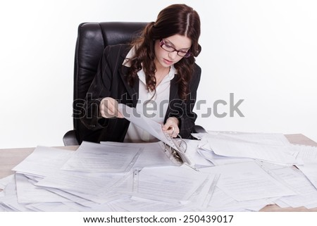 Elegant business women so many paperwork on the table in white background