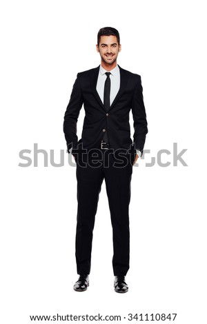 elegant businessman looking at camera with reliability isolated on white background