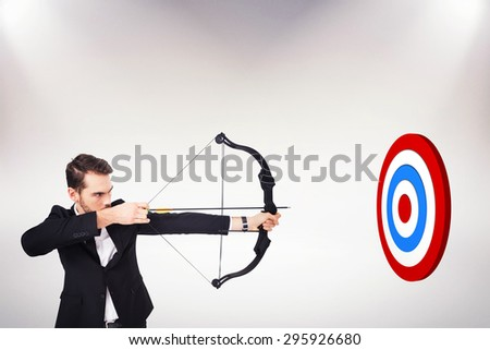 Elegant businessman shooting bow and arrow against white background with vignette