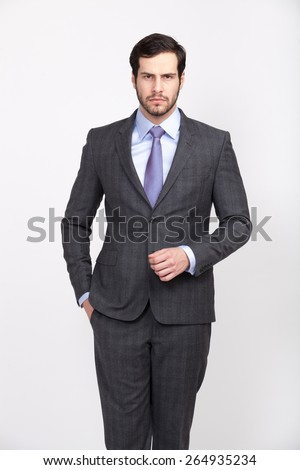 elegant businessman wearing grey suit and tie with beard, isolated - stock photo