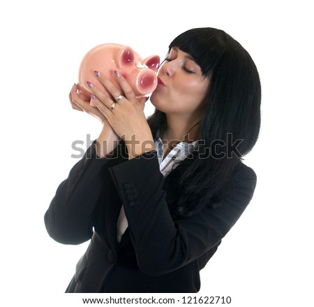 elegant businesswoman with pig