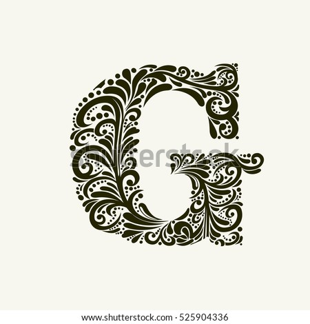 Elegant Capital Letter G In The Style Of Baroque To Use Monograms Logos