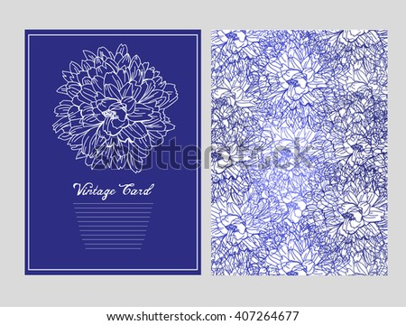 Elegant card with chrysanthemum flowers, design element. Can be used for wedding, baby shower, mothers day, valentines day, birthday cards, invitations. Vintage decorative flowers