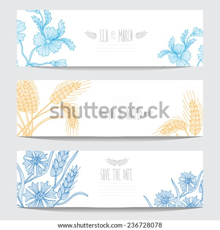 Elegant cards with decorative flowers, design elements. Can be used for wedding, baby shower, mothers day, valentines day, birthday cards, invitations. Floral banners. Vintage decorative flowers - stock photo