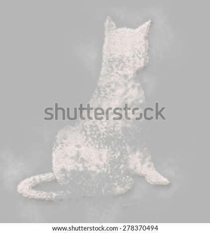 Elegant cat done  from  flour  in  a minimal style - stock photo