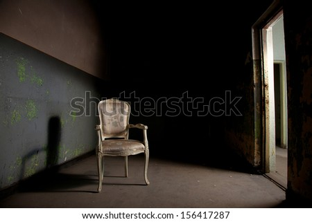 Elegant chair in grunge environment