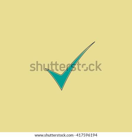 Elegant Check mark. Grren simple flat symbol with black stroke over yellow background - stock photo