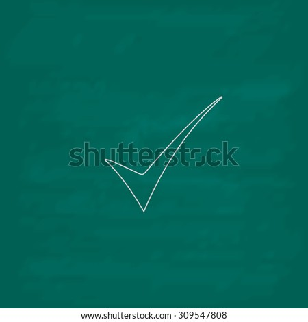 Elegant Check mark. Outline icon. Imitation draw with white chalk on green chalkboard. Flat Pictogram and School board background. Illustration symbol
