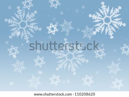 elegant christmas background with beautiful snowflakes - stock photo