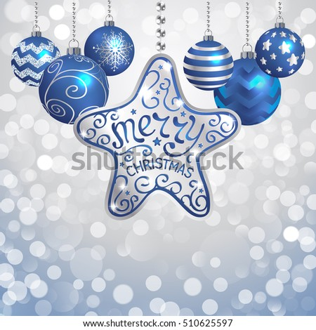 Elegant Christmas background with silver and dark blue evening balls