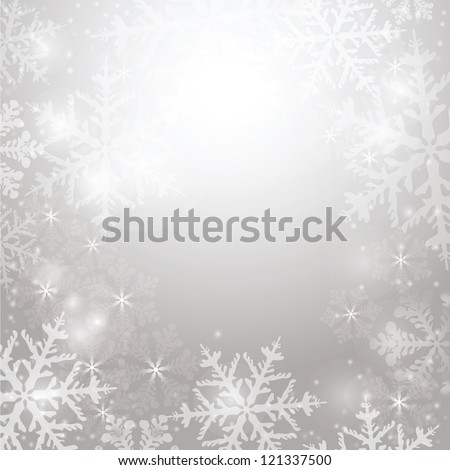 Elegant Christmas background with snowflakes and lighting space for your text - stock photo