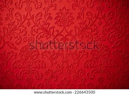 elegant christmas cherry red baroque repeating flower - stock photo