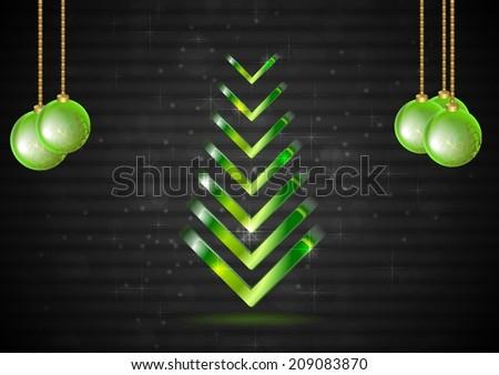Elegant Christmas fir tree with green balls - stock photo