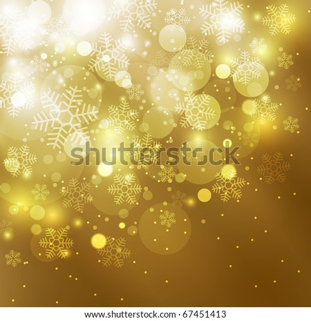 Elegant christmas golden background with snowflakes and space for text - stock photo