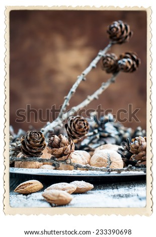 Elegant Christmas Vintage Card with Photo frame.  Natural Fruits on Silver Tray with Pine cones, Walnuts, Almonds, Nuts on Wooden Warm Brown Background, holiday decoration - stock photo