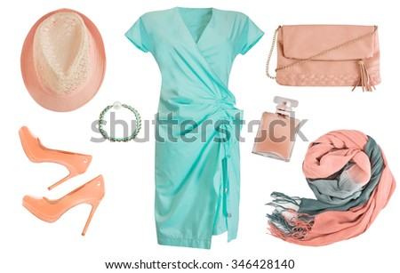 Elegant clothes and accessories set. Female clothing collage isolated on white. - stock photo