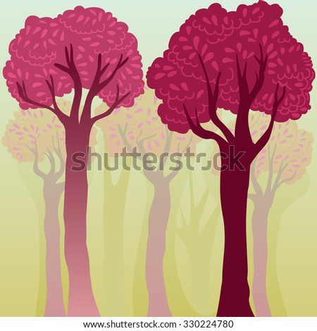 elegant colorful background with trees - stock photo