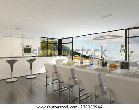 Elegant contemporary dining area with a dining suite laid with formal place settings and an open-plan fitted kitchen with bar counter overlooked by a floor-to-ceiling glass window. 3D Rendering.  - stock photo