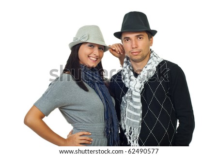 Elegant couple in gray and black clothing isolated on white background