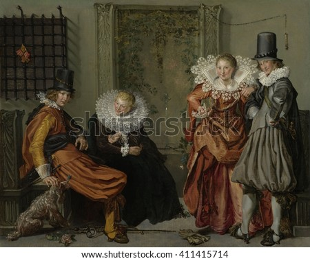 Elegant Couples Courting, by Willem Buytewech, 1616-20, Dutch painting, oil on canvas. This painting tells a moral tale. The man at left resists the tempting woman beside him. The standing couple has - stock photo