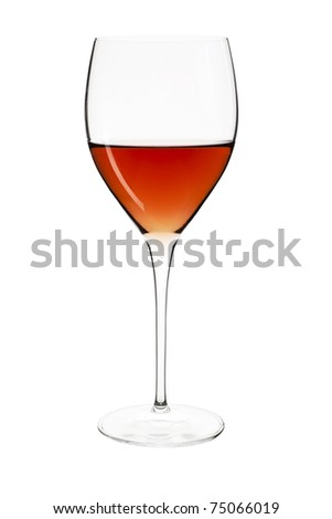 Elegant crystal wine glass with rose isolated on white background with clipping path.