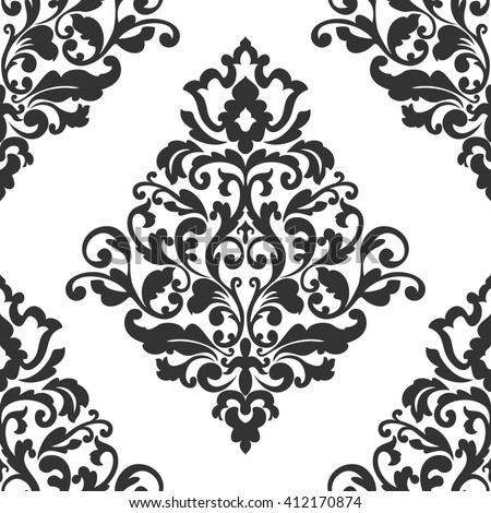 Elegant damask wallpaper. Black and white vintage pattern. Seamless classic background. - stock photo