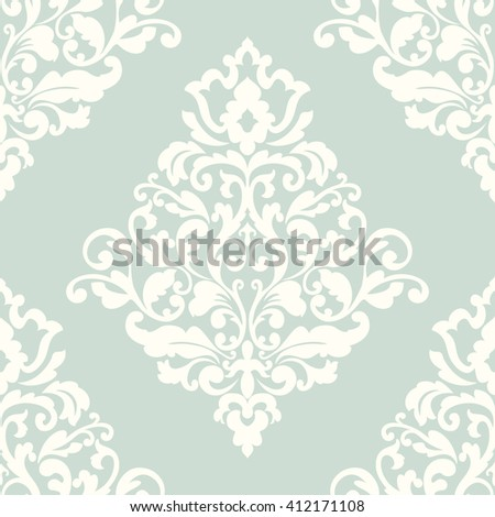 Elegant damask wallpaper. Vintage pattern. Seamless classic background. - stock photo