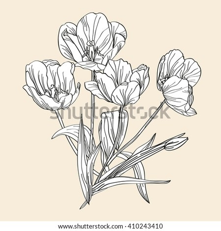Elegant decorative tulips floral bouquet, design element. Floral decoration for wedding invitations, greeting cards, banners, patterns, print, fabric, manufacturing, scrapbooking
