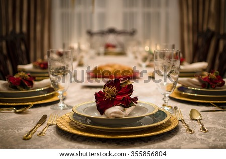 Dinner Setting fancy dinner setting dining room table stock photo 355789790