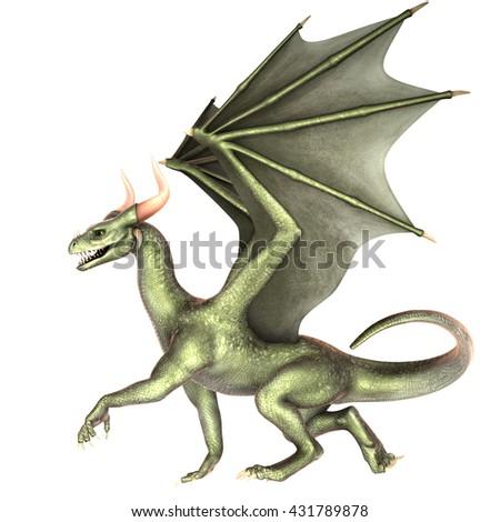 Elegant dragon isolated on white background 3d illustration - stock photo