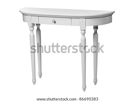 Elegant dressing table isolated over white, with clipping path - stock photo