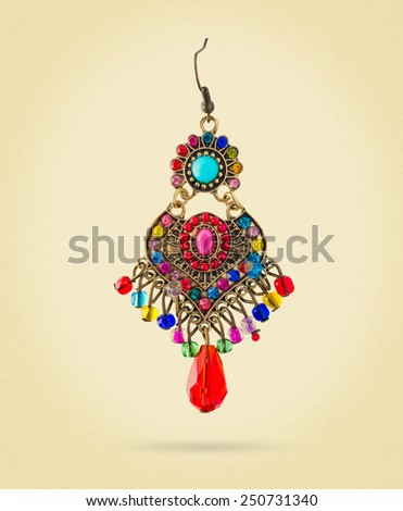 elegant earring Indian style - stock photo