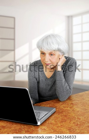 elegant elderly senior woman using laptop computer communicates at home