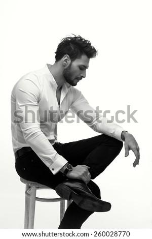 Elegant fashion man - stock photo