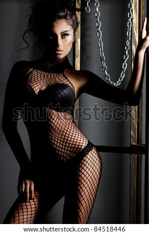 elegant fashionable woman in lingerie - stock photo