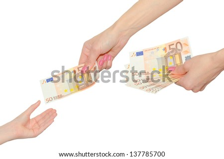 Elegant female hands giving a banknote of fifty euro in a hand of a child isolated on a white - stock photo
