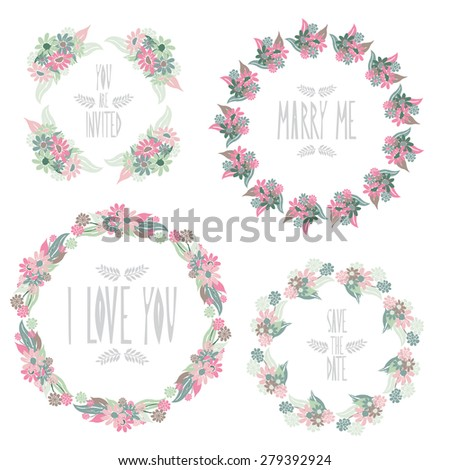 Elegant floral frames, design elements. Can be used for wedding, baby shower, mothers day, valentines day, birthday cards, invitations. Vintage decorative flowers. - stock photo
