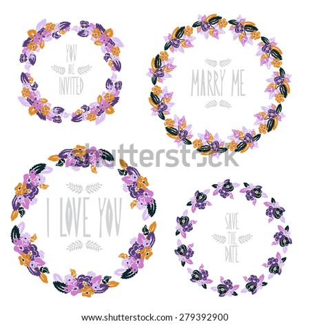 Elegant floral frames with pansy flowers, design elements. Can be used for wedding, baby shower, mothers day, valentines day, birthday cards, invitations. Vintage decorative flowers. - stock photo