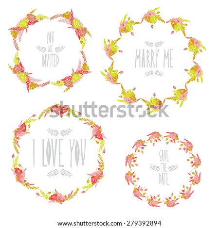 Elegant floral frames with poppy flowers, design elements. Can be used for wedding, baby shower, mothers day, valentines day, birthday cards, invitations. Vintage decorative flowers. - stock photo