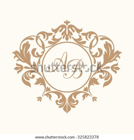 Elegant floral monogram design template for one or two letters . Wedding monogram. Calligraphic elegant ornament. Business sign, monogram identity for restaurant, boutique,  hotel, heraldic, jewelry. - stock photo