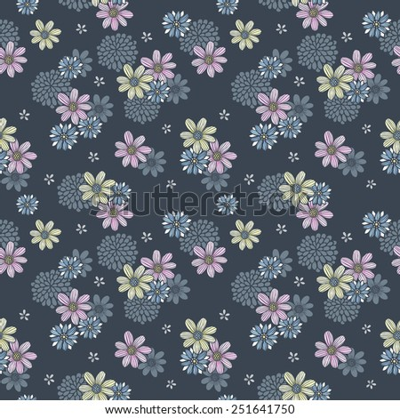 elegant floral seamless pattern over blue background - stock photo