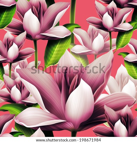 Elegant floral seamless pattern with water lily - stock photo
