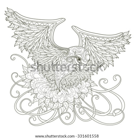 elegant flying bird coloring page design in exquisite style - stock photo