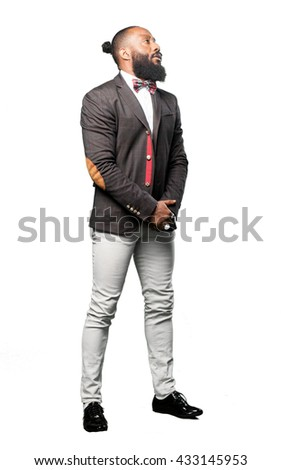 elegant full body black man on white