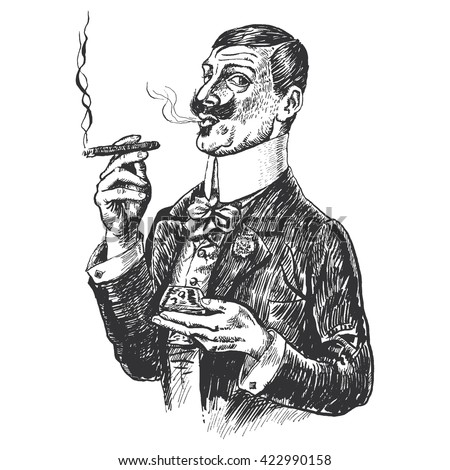 Elegant gentleman holding glass of beverage and cigar. Vintage engraving style. Victorian Era hand drawn illustration. Raster version