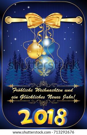 Elegant German Christmas New Year 2018 Stock Illustration ...